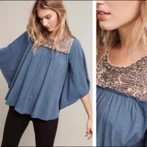 Deletta Josephine Embellished Teal Top